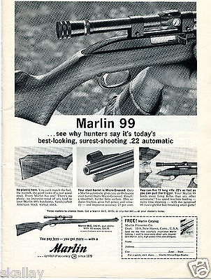 1963 Print Ad of Marlin Model 99 Rifle best looking, surest shooting
