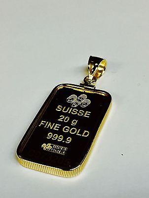24K Fine Gold Credit Suisse 20Gram Bullion Ingot   14Kt Framed Charm Pendant