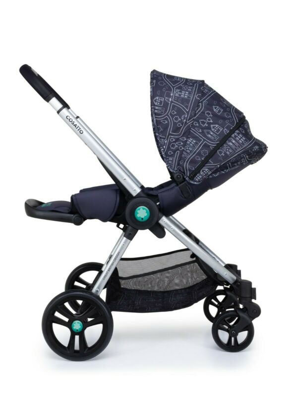 New Cosatto Wowee I Size bundle My Town with carrycot car seat base & Raincover