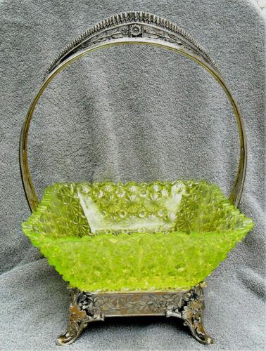 VICTORIAN BRIDES BASKET ALBANY SILVERPLATE CO SQUARE YELLOW VASELINE GLASS RARE!