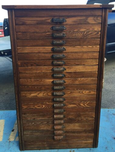 Antique Hamilton Printers Cabinet  Oak 20 Drawer