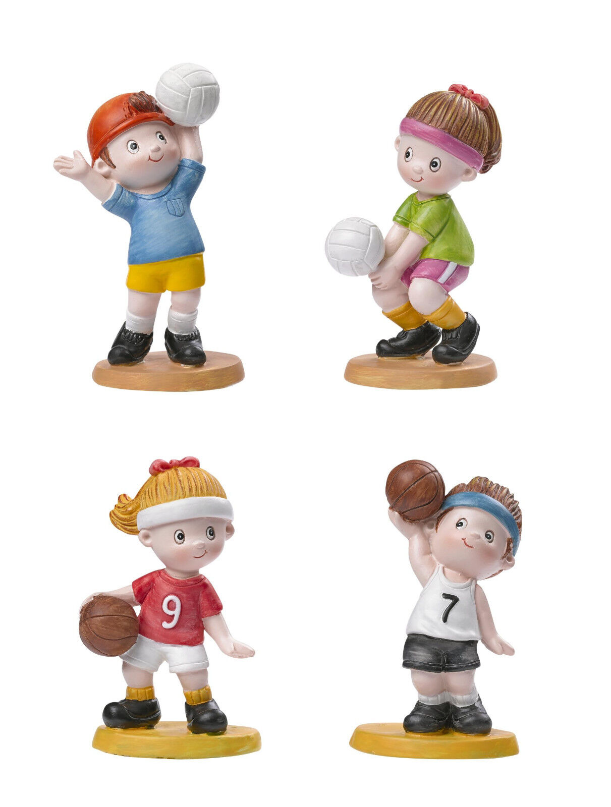 DEKOFIGUR Steinharz HOBBYFUN ca 8,5 cm Sport Kinder VOLLEYBALL + BASKETBALL