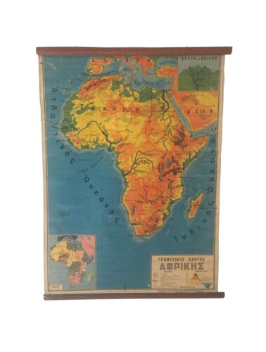 Geography map of Africa, Vintage Africa pull down chart, Geophysical School Map,