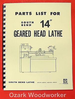 South Bend 14 Gear Head Lathe Operators Parts Manual 0668