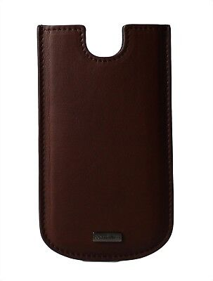 NEW DOLCE & GABBANA Phone Case Brown Leather Silver Logo Cover 13.5x7.5cm