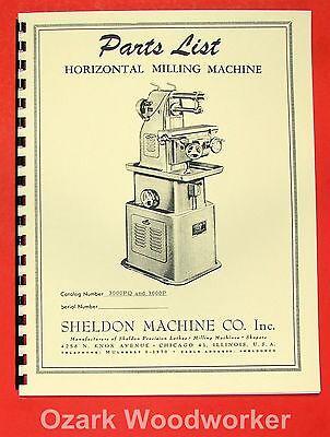 "SHELDON Vernon 12"" Horizontal Milling Manual Parts 0658"