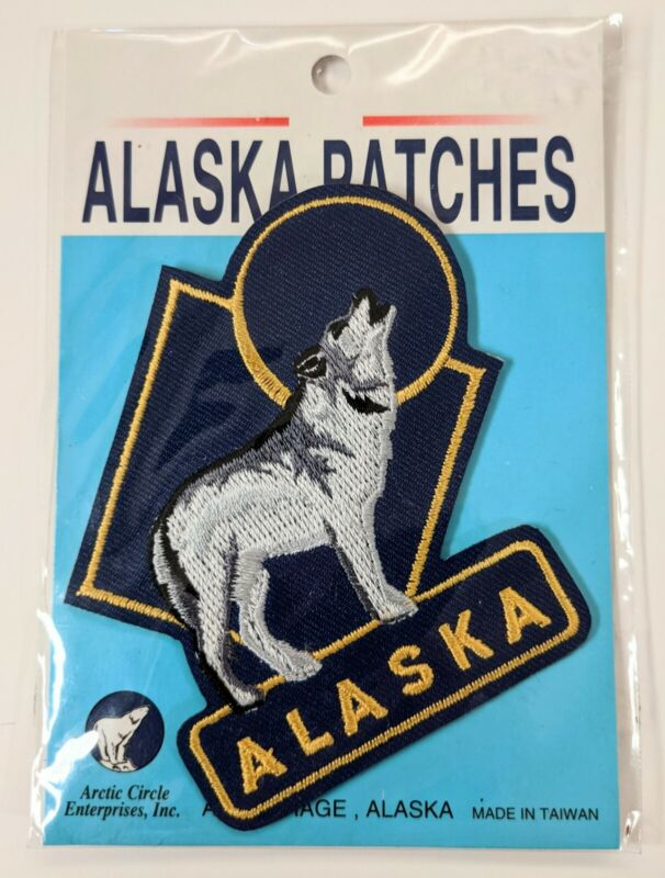 """Vtg Alaska Patch With Howling Wolf and Shapes, ~3"""" Iron-On"""