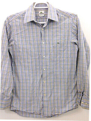 Lacoste Button Front Shirt Mens size 40 (M) Purple Yellow Green Pastel Checked