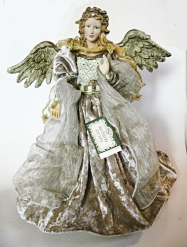 "Silvestri Angel 18"" Tall Tree Topper Velvet Champagne Gown Gold Trim Faux Pearls"