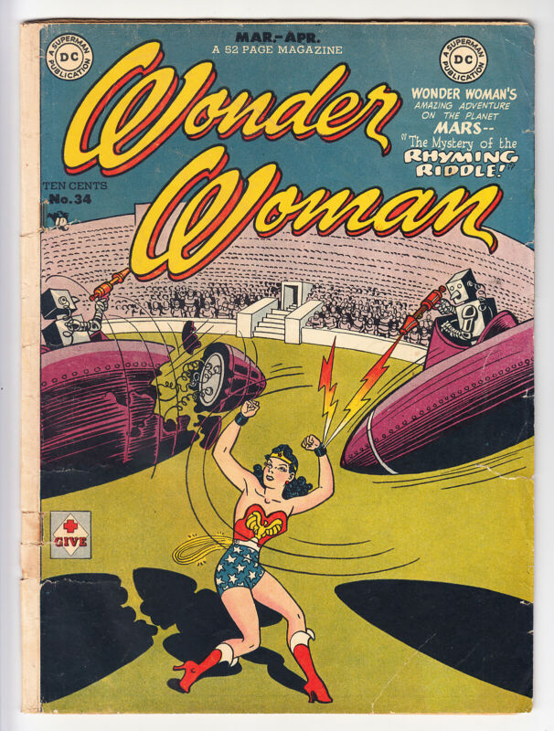 WONDER WOMAN #34 CLASSIC ROBOT COVER 1.8, GOOD- 1949!