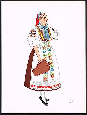 1930s Vintage Bratislava Slovakia European Woman's Clothing Pochoir Art Print