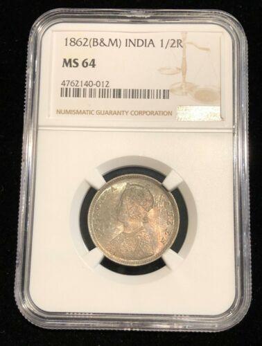 INDIA 1/2 Rupee, 1862 B & M , Brilliant / GEM UNC NGC MS 64, Superb Toning