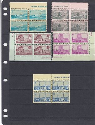 TURKISH CYPRIOT POSTS - SG93-97 MNH 1980 ANCIENT MONUMENTS - BLOCKS OF 4