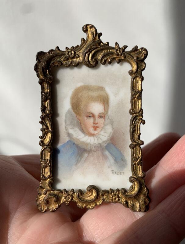 Antique Victorian Signed Bizet Portrait Miniature Painted Porcelain French Lady