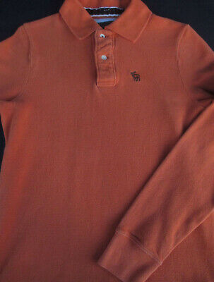 Abercrombie & Fitch Mens Pullover Knit Long Sleeve Cotton Logo Polo Shirt S