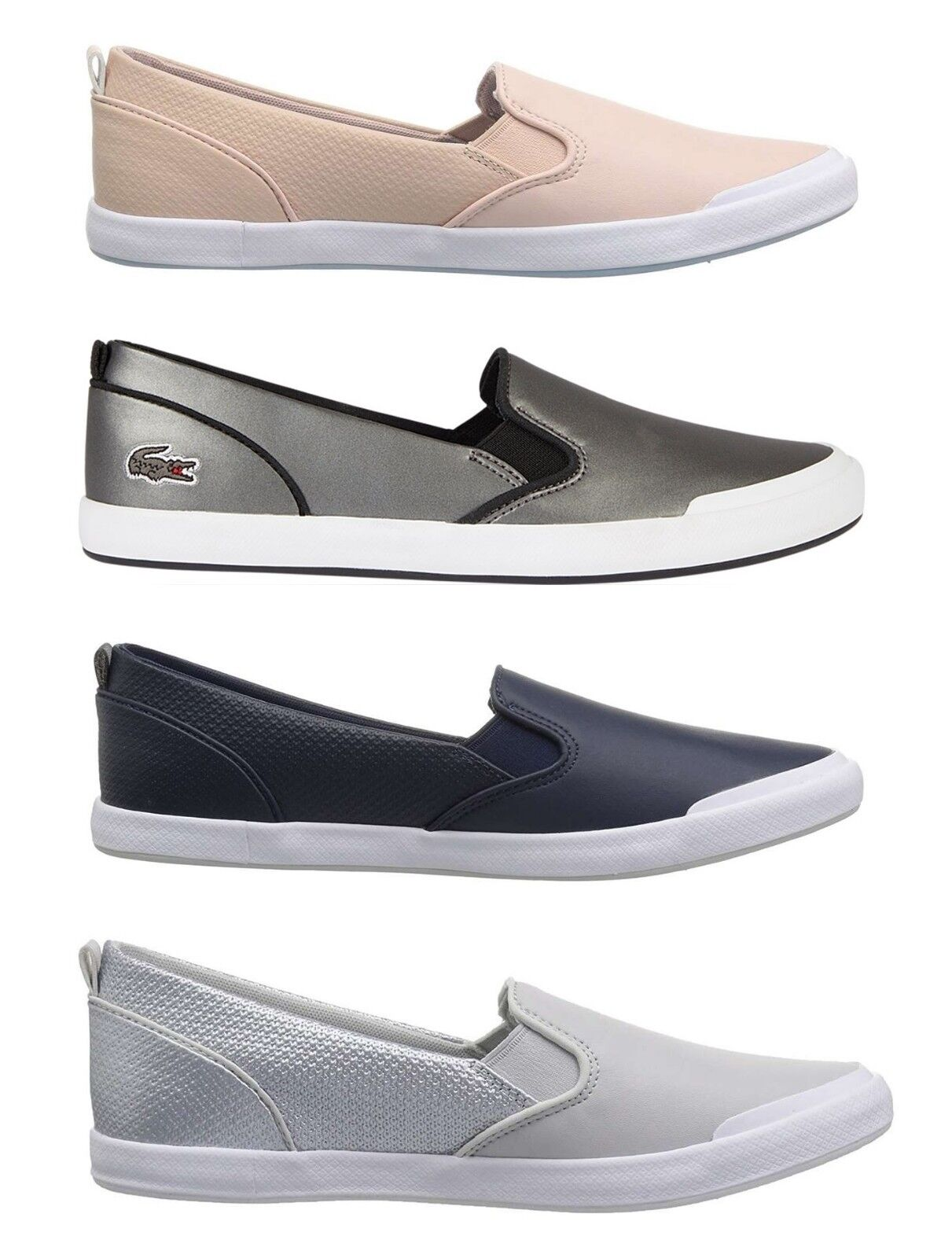 Lacoste Women NEW Lancelle Series Slip On Flats Casual Shoes