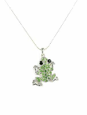 Frog Jewelry - Novelty Adorable Frog Rhinestone Pendant Necklace in Silver Tone
