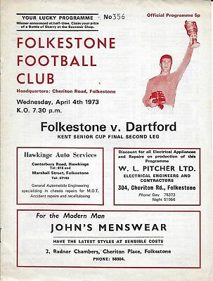 Football Programme>FOLKESTONE v DARTFORD Apr 1973