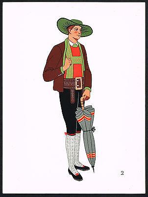 1930s Vintage Pustertal European Austrian Man's Clothing Pochoir Art Print
