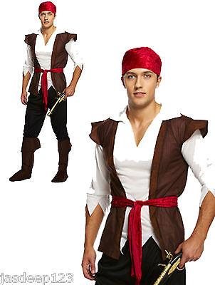 da uomo adulti Pirata Costume vestito Jack Sparrow DEI CARAIBI marrone man