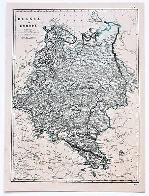 1875 Russia Map Ukraine Moscow St Petersburg Railroads Black Sea ORIGINAL EXRARE