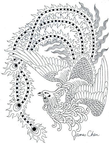 CHINESE PHOENIX ORIGINAL HAND DRAWN FINE ART BY COMIC BOOK ARTIST JAMES CHEN