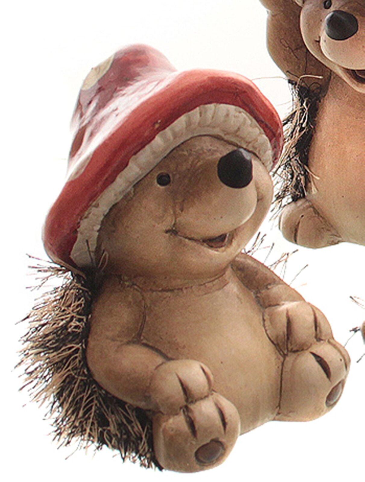 Igel Deko der kleine Igel mit Kunstfell und Pilzhut Deko Herbst Winterdeko 10cm
