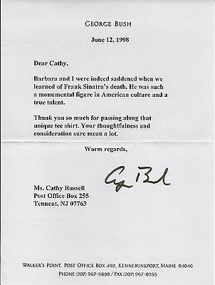 Signed George H W  Bush Letter Autographed Frank Sinatra