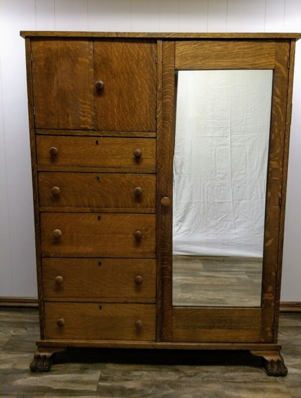antique claw feet quarter sawn solid oak chifferobe /wardrobe .original mirror