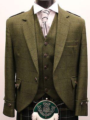 GREEN TWEED NEW ARGYLL KILT JACKET & VEST  FOR SPORRAN KILTS & KILT £189
