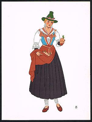 1930s Vintage Zillertal Tyrol Austrian European Woman Clothing Pochoir Art Print