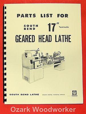 South Bend 17 Turn-nado Gear Head Lathe Parts Manual 0670