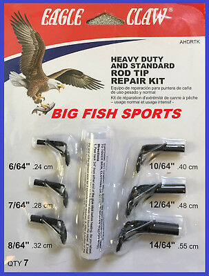 Heavy Duty Tip (EAGLE CLAW HEAVY DUTY Fishing Rod Tip Repair Kit with Glue 7 SIZES! Pole Guides )