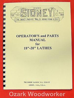 Sidney 18-20 Metal Lathe Operators Parts Manual 0662