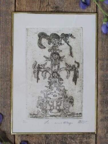 Mayan Foliated Cross Palenque Lg Brass Framed Etching Mexican Folk Art by Abelar