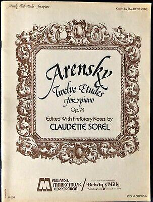ARENSKY 12 ÉTUDES FOR PIANO OP .74 - CLAUDETTE SOREL- PIANO MUSIC BOOK