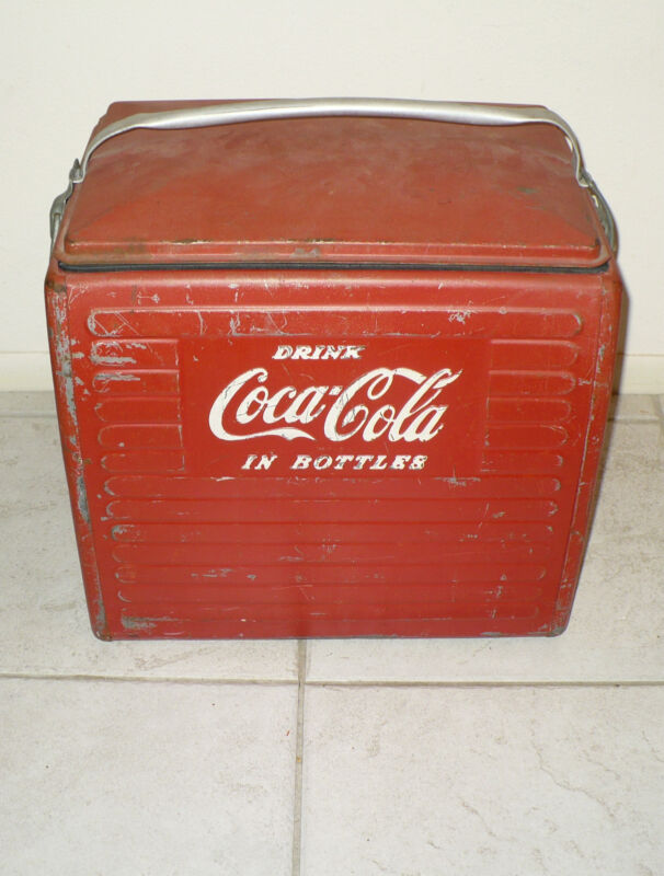 "ANTIQUE COCA COLA COOLER "" DRINK COCA COLA IN BOTTLES "" ACTON MFG CO"