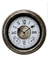 AcuRite 76049L 14 Indoor/Outdoor Antique Silver Wall Clock New