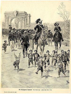 Panunzi ( Die Bersaglieri kommen ) Militärische Graphik von 1897