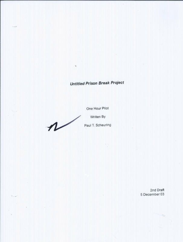 Dominic Purcell Signed Autographed Prison Break Pilot Episode Script COA