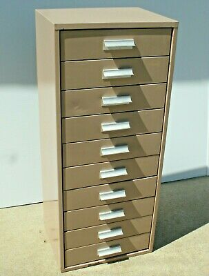 Vintage Industrial 10 Drawer Steel Cabinet