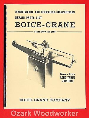 Boice Crane 2400 3400 6 8 Inch Jointer Instructions Part Manual 0993