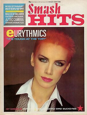 Annie Lennox on Smash Hits Magazine Cover 1984   U2   Aztec Camera   Rod Stewart