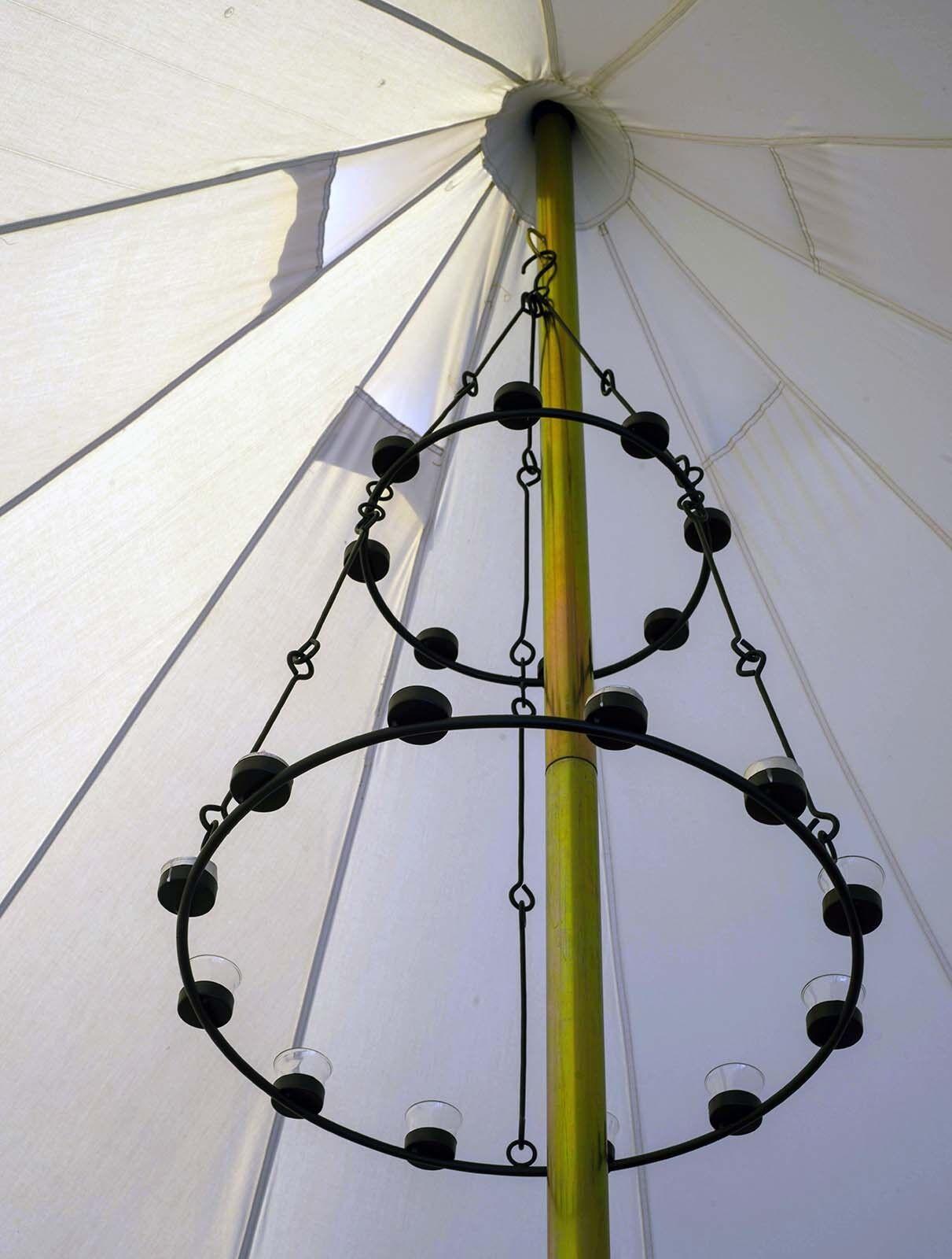 Tea Light Chandelier Double Tier Multi Coloured Glass By