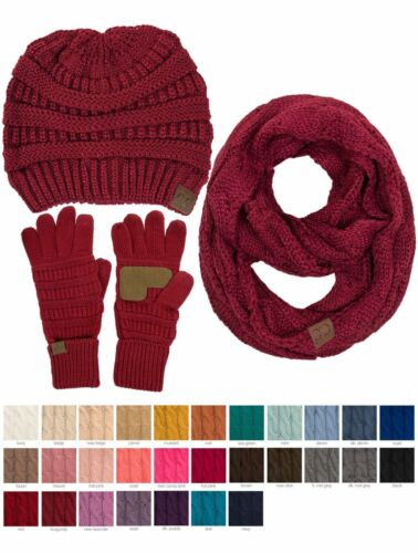 Jinscloset C.C 3pc Warm Chunky Soft Stretch Cable Beanie, Gloves and Scarves Set