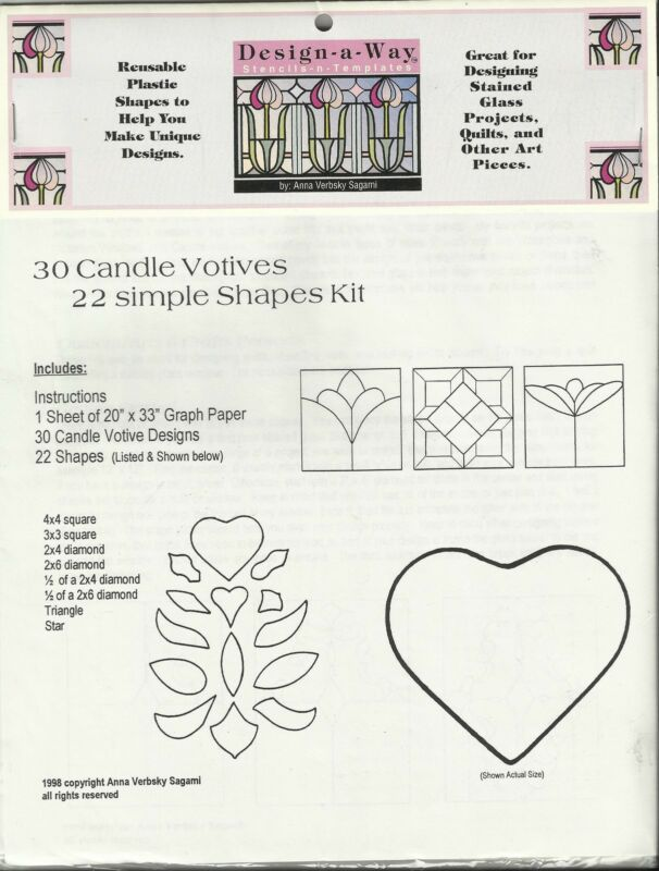 30 Candle Votives Shape Kit REUSABLE PLASTIC SHAPES Stained Glass & Quilt Design