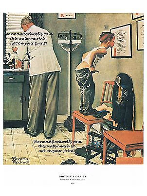 """Norman Rockwell """"DOCTOR'S OFFICE"""" print """"BEFORE THE SHOT"""" health care 11x15"""""""