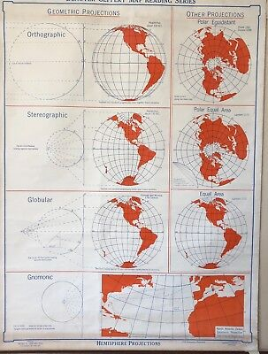 Vintage Pull Down Map CLOTH1 Layer Hemisphere Projection, Salvage, Antique.