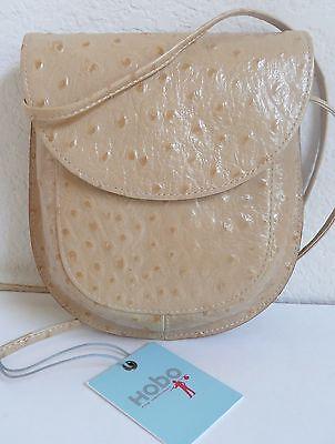 (Hobo International Adrina Cross Body Bag Beige Ostrich Embossed Leather NWT)