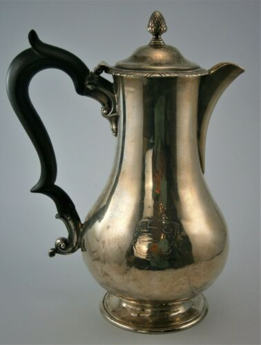 English Sterling Coffee Pot with Ebony Handle Hallmarked London 1840 by RS